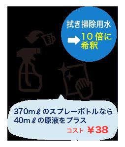 拭き掃除用水→10倍に希釈