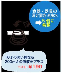 食器・器具のつけおき洗浄水→5倍に希釈